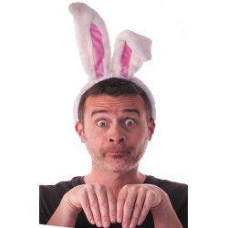 Accessoires de fête, Serre tête oreilles de lapin blanc et rose adulte, 33372, 3,90€