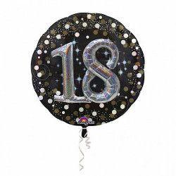 Ballon aluminium rond holographique 18 ans Déco festive 3451101