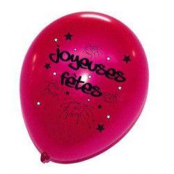 Sachet de 8 ballons joyeuses fêtes Déco festive 36270