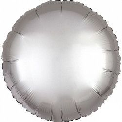 Déco festive, Ballon métallisé rond satin platine argent 43 cm, 3680501, 2,40€