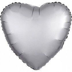 Déco festive, Ballon métallisé coeur satin platine argent 43 cm, 3680601, 2,40€