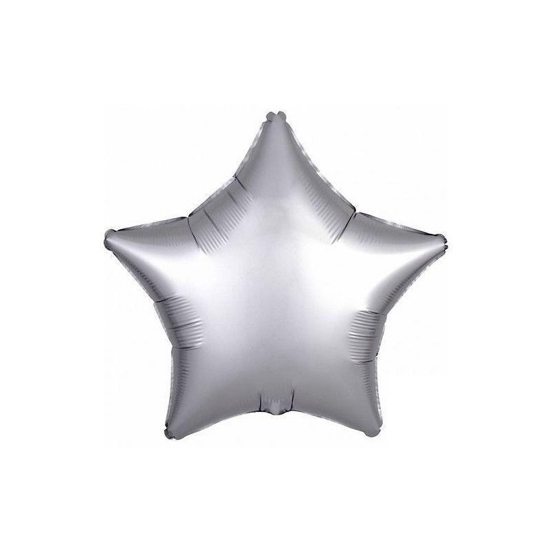 Ballon métallisé étoile satin platine argent 43 cm Déco festive 3680701