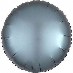 Ballon métallisé rond satin bleu acier 43 cm Déco festive 3681201