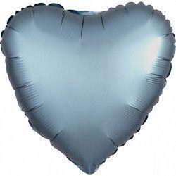 Ballon métallisé coeur satin bleu acier 43 cm Déco festive 3681401