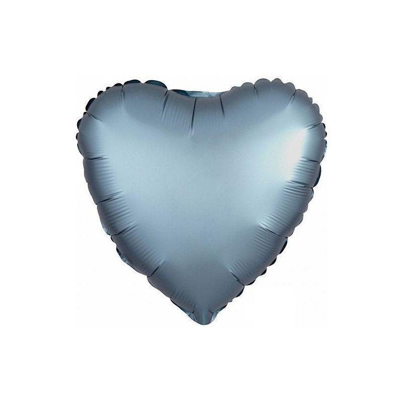 a5d9034602769e Ballon métallisé coeur satin bleu acier 43 cm