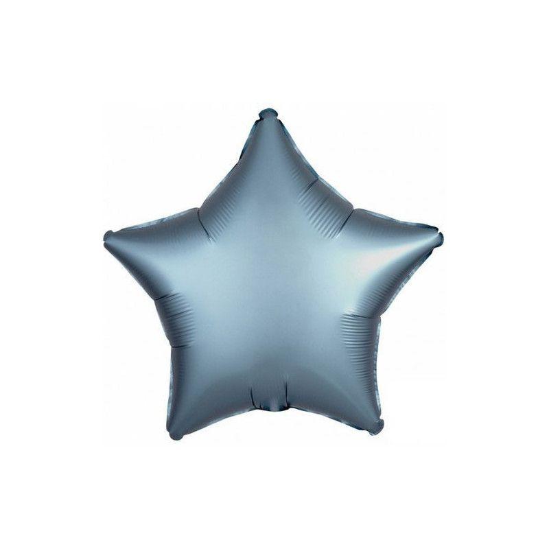 Ballon métallisé étoile satin bleu acier 43 cm Déco festive 3681501