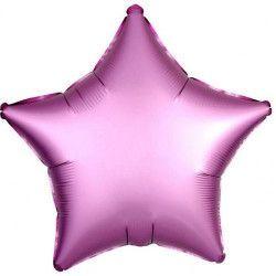 Ballon métallisé étoile satin rose flamingo 43 cm Déco festive 3682301