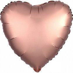 Ballon métallisé coeur satin rose cuivré 43 cm Déco festive 3682501