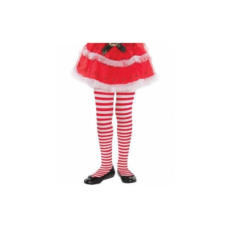 Collants rayures rouges et blanches fille Accessoires de fête 378813