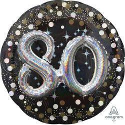 Ballon aluminium rond holographique 80 ans Déco festive 3790201