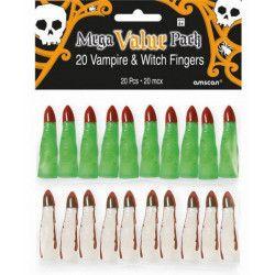 Sachet 20 doigts sorcière et vampire halloween Accessoires de fête 394796-55