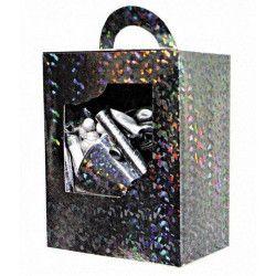 Déco festive, Kit cotillons luxe 10 personnes hologramme argent, 40135047, 9,90€