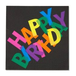 Serviettes papier x 12 Happy Birthday fluo UV Déco festive 401756