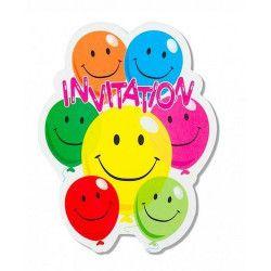 Déco festive, Cartes invitations x 6 Smile, 401782, 1,50€