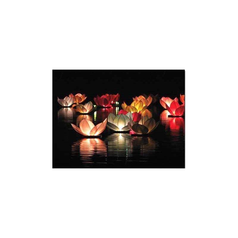 Bougie lotus 30x30 cm vendue par 8 Déco festive 4087