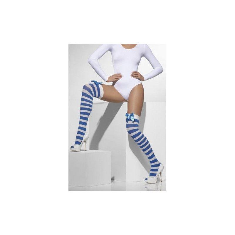Bas opaques rayés bleu et blanc adulte Accessoires de fête 42712