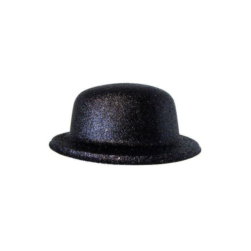 Chapeau melon paillettes noir Accessoires de fête 42713