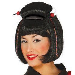 Perruque geisha noire Accessoires de fête 4272