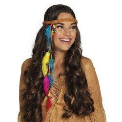 Bandeau hippie avec perles et plumes Accessoires de fête 44529