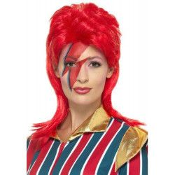 Accessoires de fête, Perruque super star de l'espace rouge femme, 45180, 20,90€