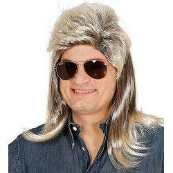 Accessoires de fête, Perruque Mullet avec mèches blondes années 80 adulte, 4581, 12,90€
