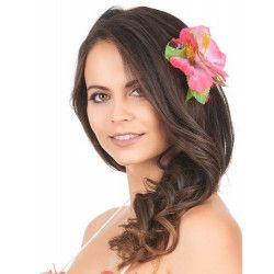 Barrette fleur hibiscus rose hawaï Accessoires de fête 45943