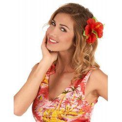 Accessoires de fête, Barrette fleur hibiscus rouge hawaï, 45944, 1,90€