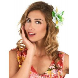 Accessoires de fête, Barrette fleur hibiscus blanche hawaï, 45946, 1,90€