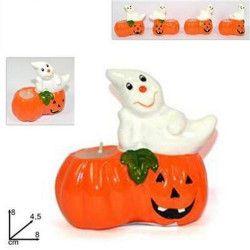 Déco festive, Bougie fantôme halloween sur citrouille, 45975, 1,60€