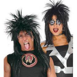 Perruque punk noire Accessoires de fête 4601