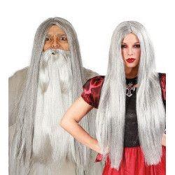 Accessoires de fête, Perruque longue grise mixte, 4770, 8,90€