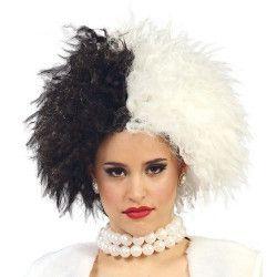 Perruque courte noire et blanche Accessoires de fête 4857