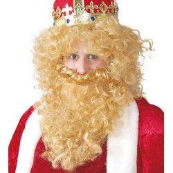 Perruque blonde avec barbe de roi mage Accessoires de fête 4864