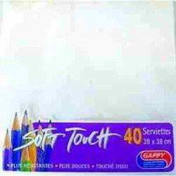 Déco festive, Serviettes blanches x 40 Soft Touch de 38 x 38 cm, 49431, 1,90€