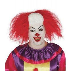 Perruque de clown méchant avec faux crâne Accessoires de fête 4976
