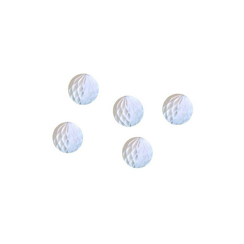 Lot de 5 boules alvéolées blanches 5 cm Déco festive 50221XS