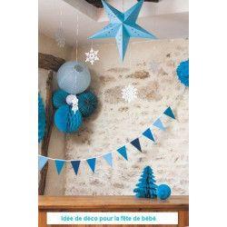 Boule alvéolée bleu dragée 20 cm Déco festive 50223M