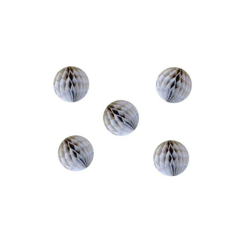 Lot de 5 boules alvéolées grises 5 cm Déco festive 50225XS
