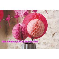 Boule alvéolée rose vintage 12 cm Déco festive 50232S