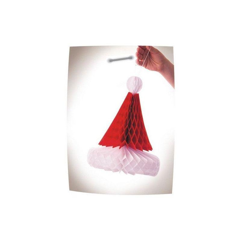Décoration bonnet noël alvéolé 31 cm Déco festive 50238