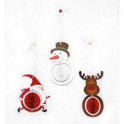 Set de 3 décorations de Noël alvéolées 12 cm Déco festive 50239