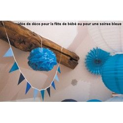 Pompon satin bleu glacier 40 cm Déco festive 50242