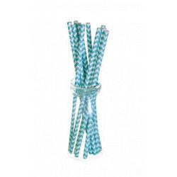 Déco festive, Sachet 10 pailles chevrons bleus et blancs, 50290, 1,50€
