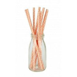 Déco festive, Lot 10 pailles rose pastel à pois blancs, 502904, 1,50€