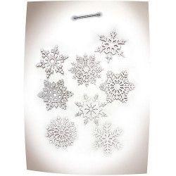 Déco festive, Set de 8 flocons argentés 15 cm, 50293, 5,40€