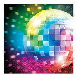 Serviettes Disco Fever 70's 33x33cm Déco festive 511222
