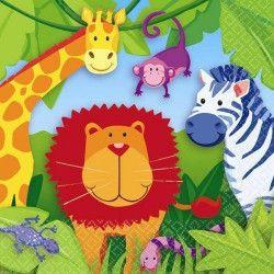 Serviettes papier Animaux de la Jungle 33x33cm Déco festive 519148