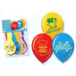 Ballons Joyeux Anniversaire couleurs assorties x 10 Déco festive 5208-FRA