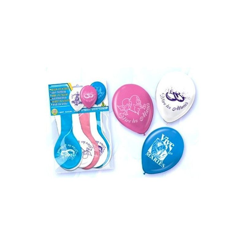 Ballons baudruche assortis Vive les mariés x 10 Déco festive 5215-FRA