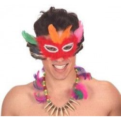 Masque indien plumes et collier Accessoires de fête 52621